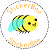 The logo for StickerBee - a smiling bee in a circle with the company name above and below